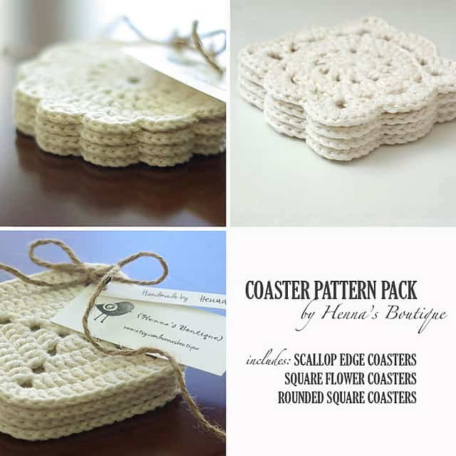Crocheted coaster gift set