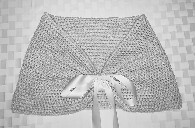 Crocheted wedding shrug wrap with ribbon