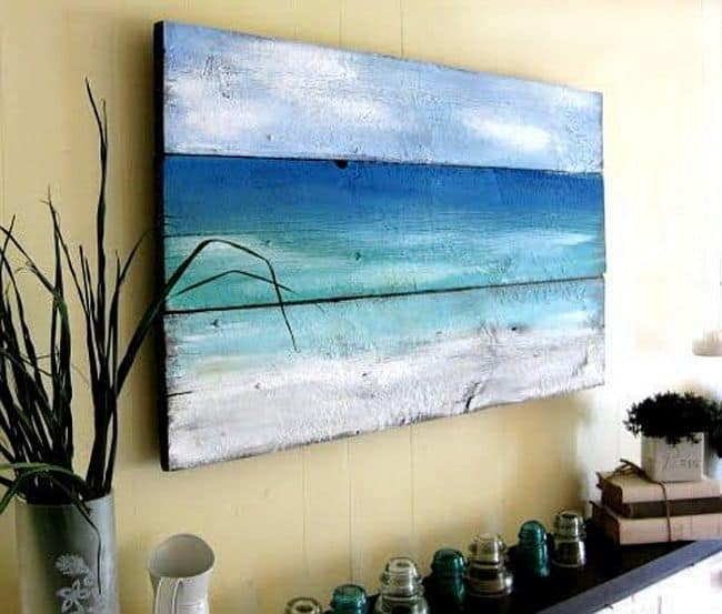 DIY Old wood ocean painting