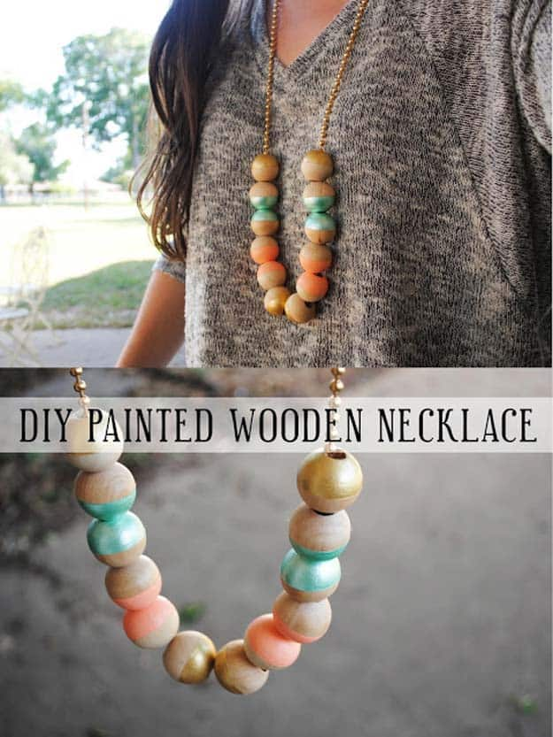 DIY wooden painted necklace