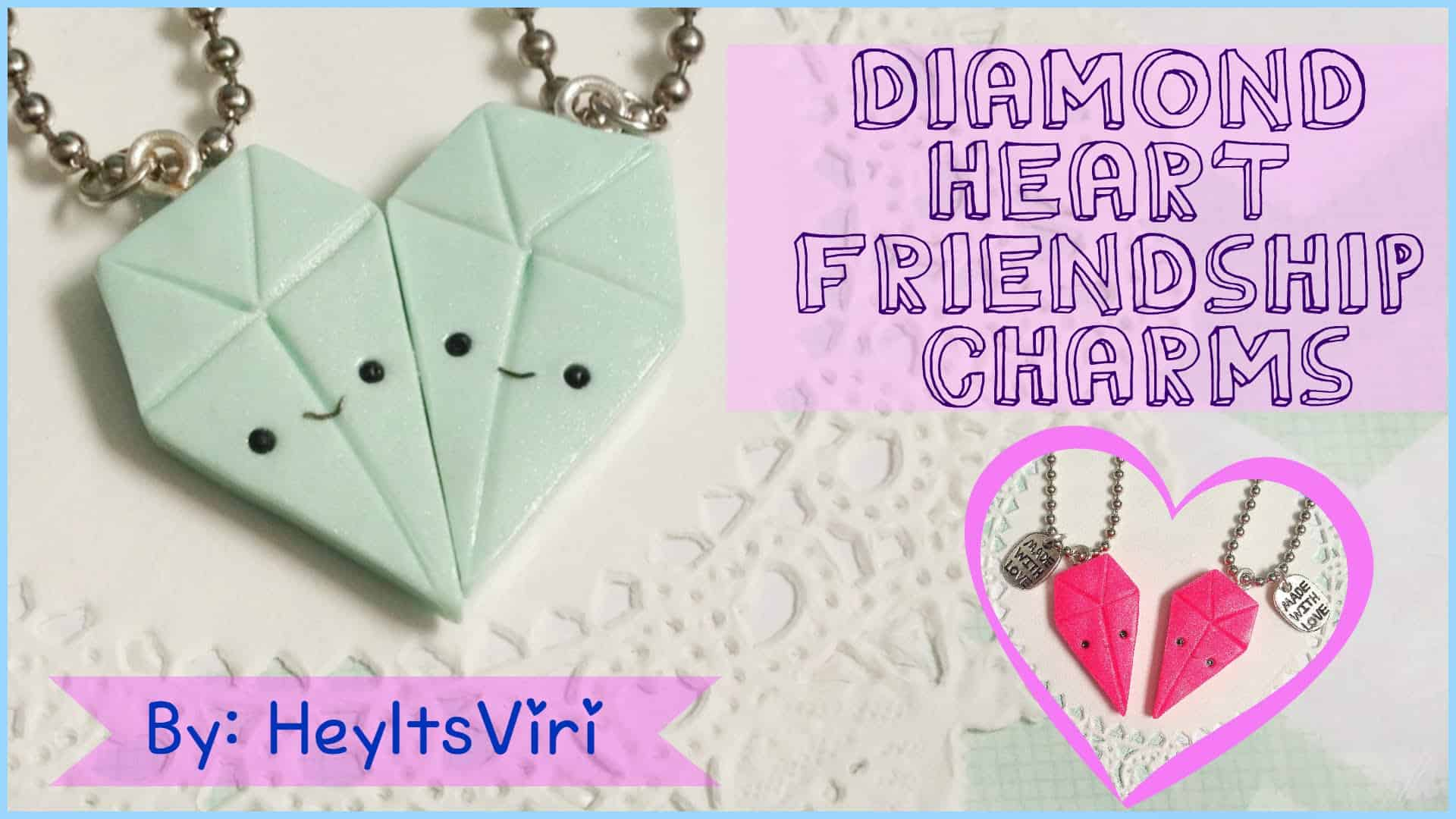 Diamond heart friendship necklace