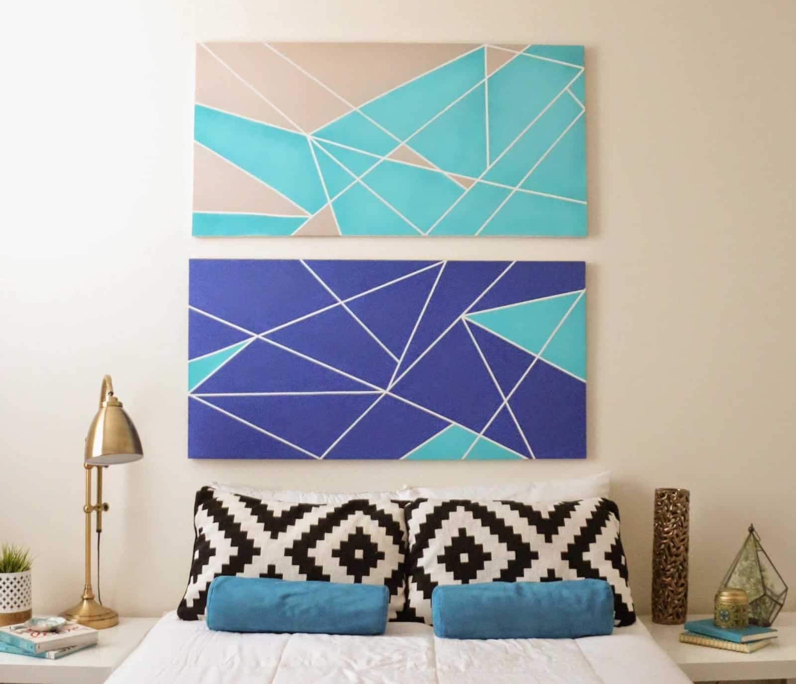Geometric canvas headboard
