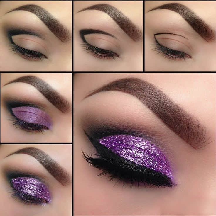 Glittery purple lid with a cut crease