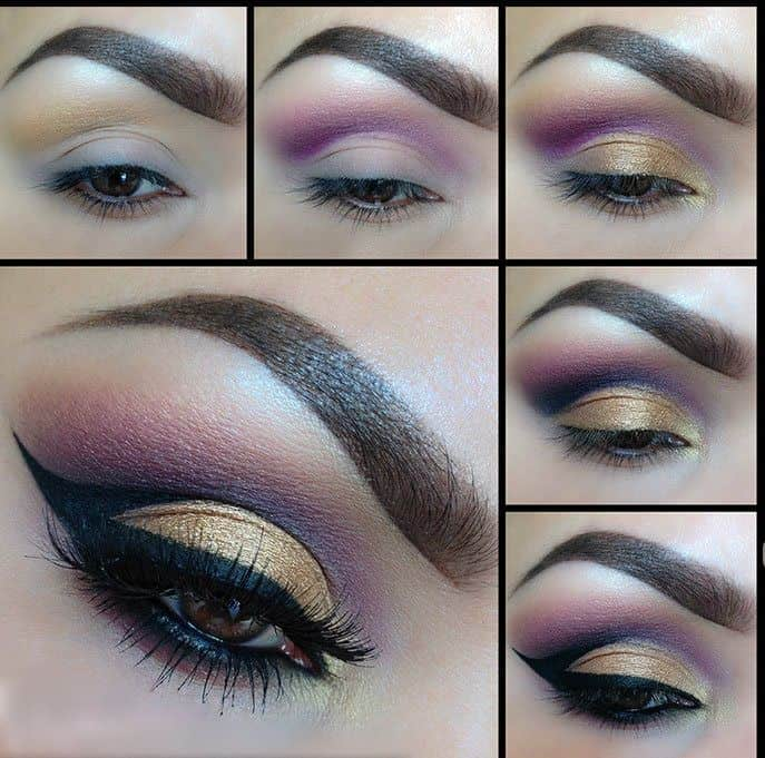 Gold lid, purple shade, and a liner cut crease
