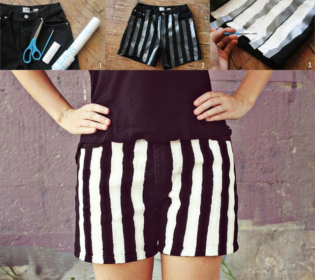 Hand painted black and white stripe shorts