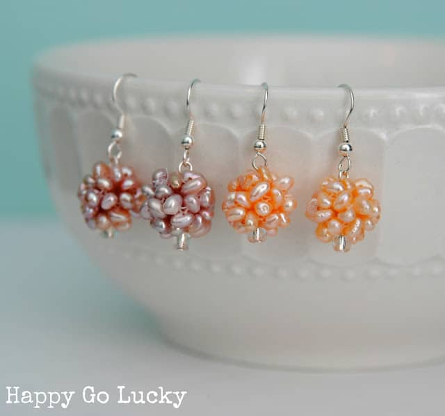 Happy colour tiny pearl earrings