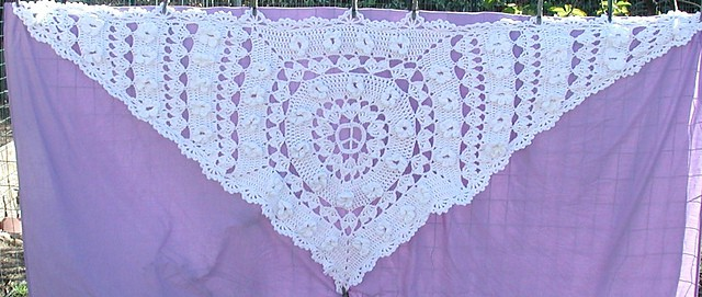 Hippie lace wedding shawl