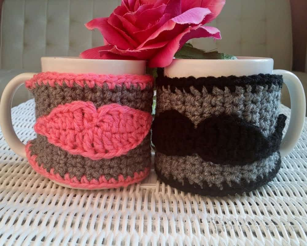 His and Hers crocheted mug cozies