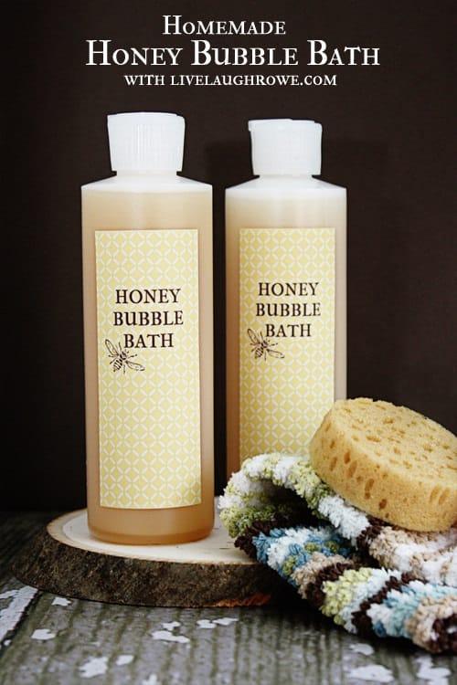 Homemade honey bubble bath