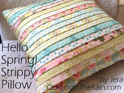 Layered and patterned fabric stripe pillow