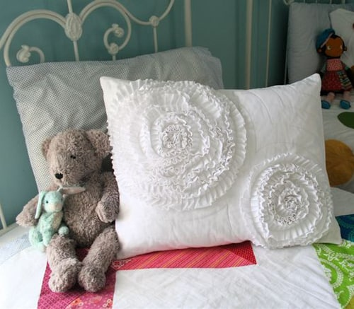 Layered ruffle circle pillow