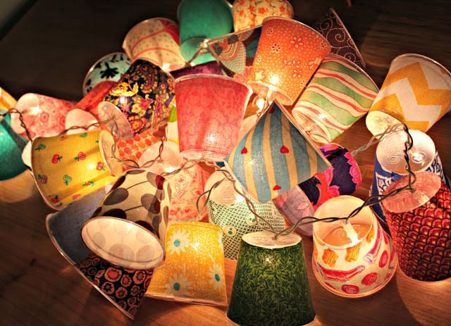 Mini fabric covered cup lamps