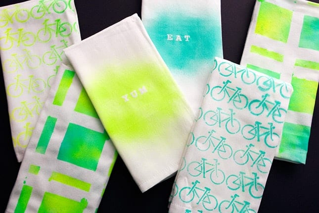 Neon stenciled napkins