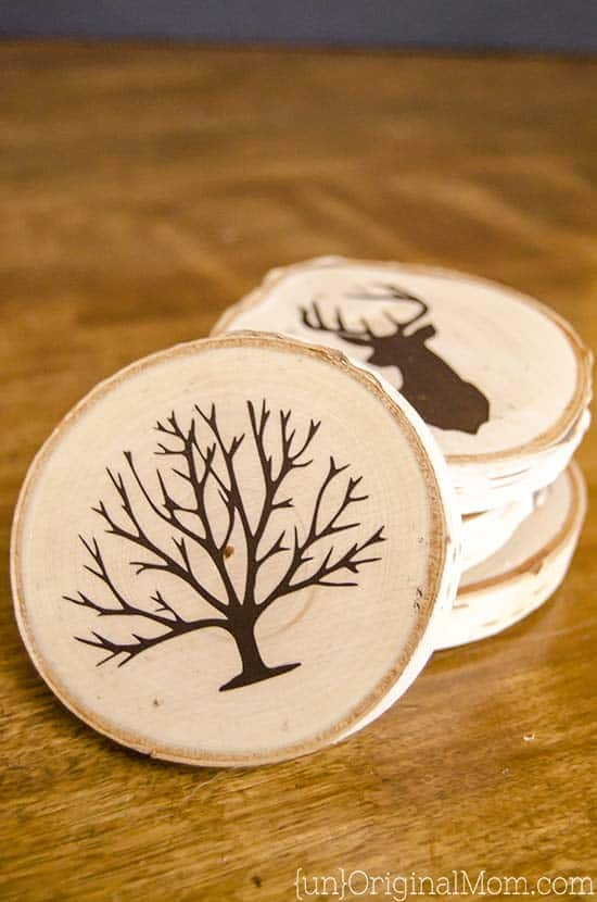 Painted wood slice coasters