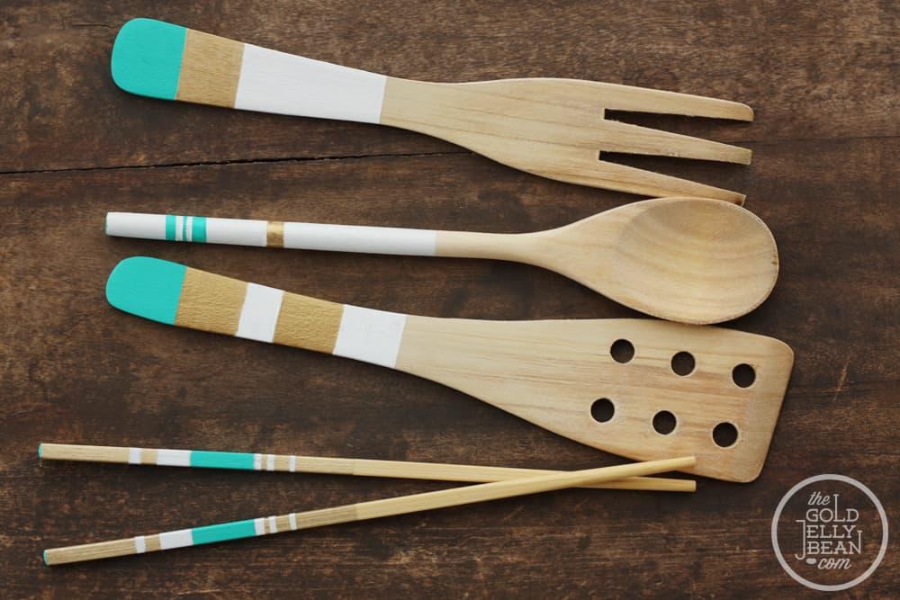Painted wooden utensils
