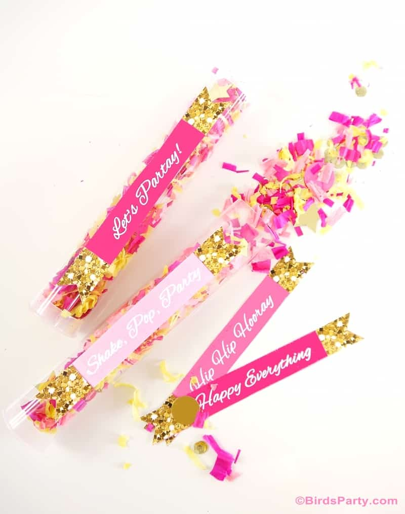 Pink confetti poppers