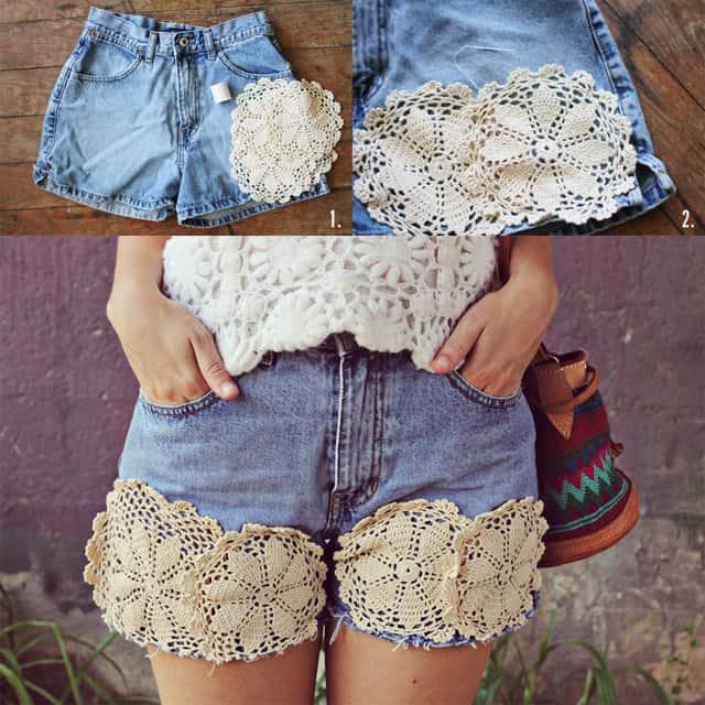 Pretty lace doily shorts