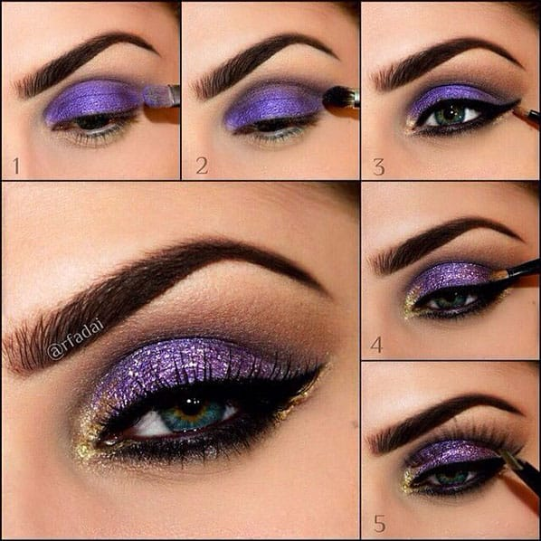 Purple and gold sparkles