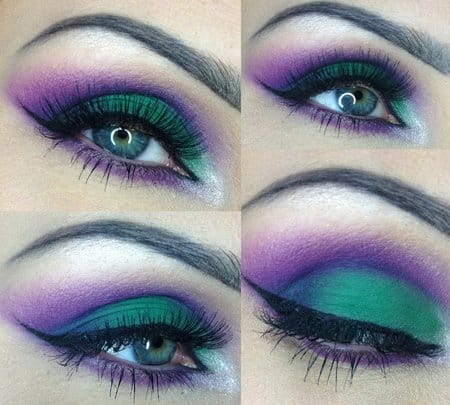 Purple and green with a winged liner