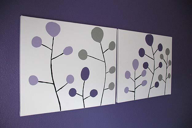 Purple cirlces modern art canvas