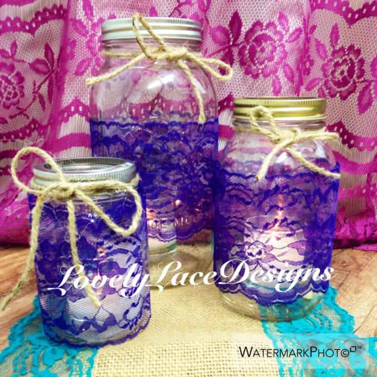 Purple lace trim mason jar candles