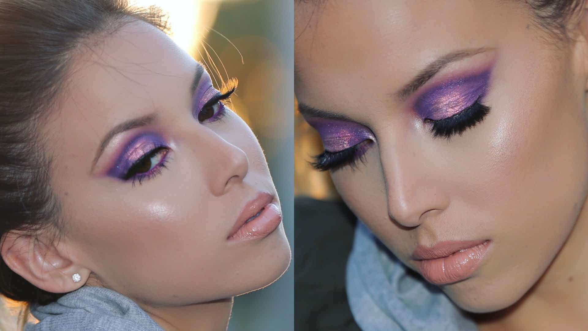 Purple lids with a metallic rose gold centre