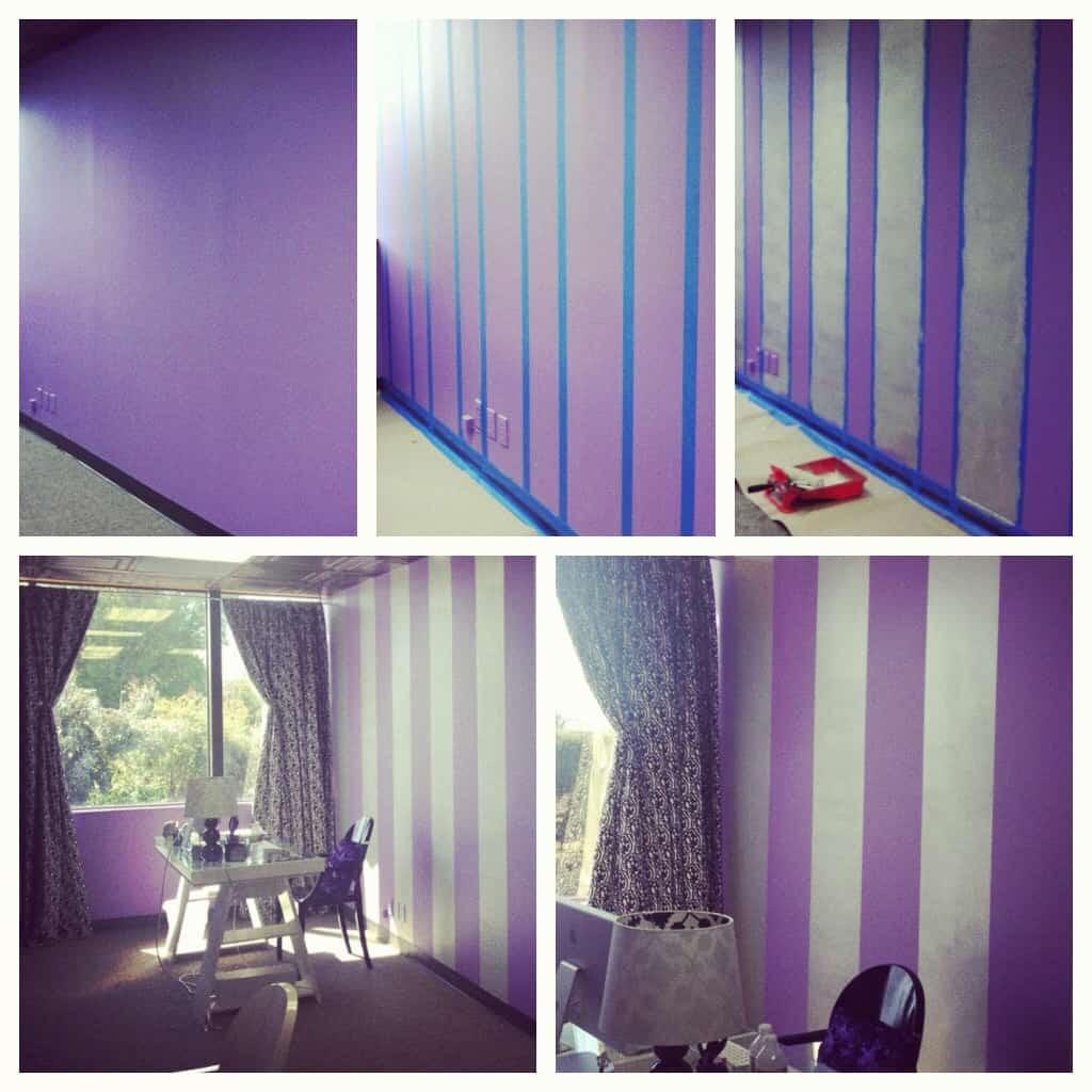 Purple striped walls