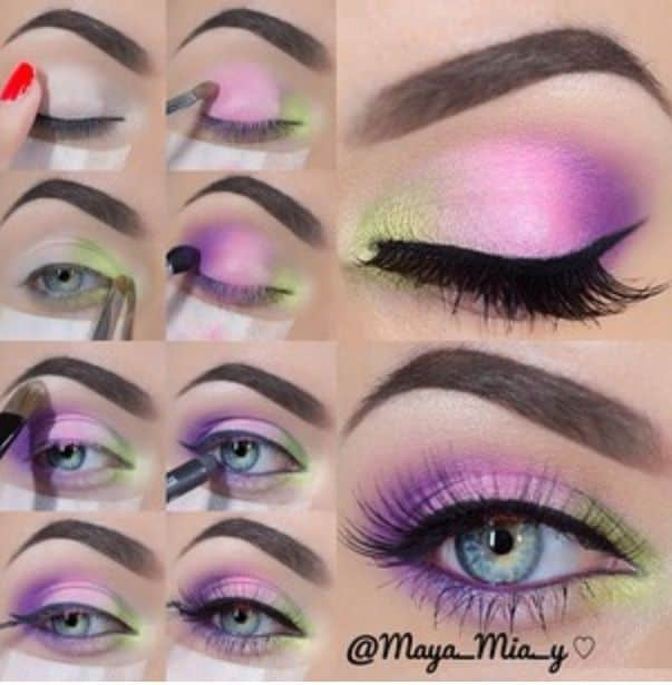 Purple with a green inner corner