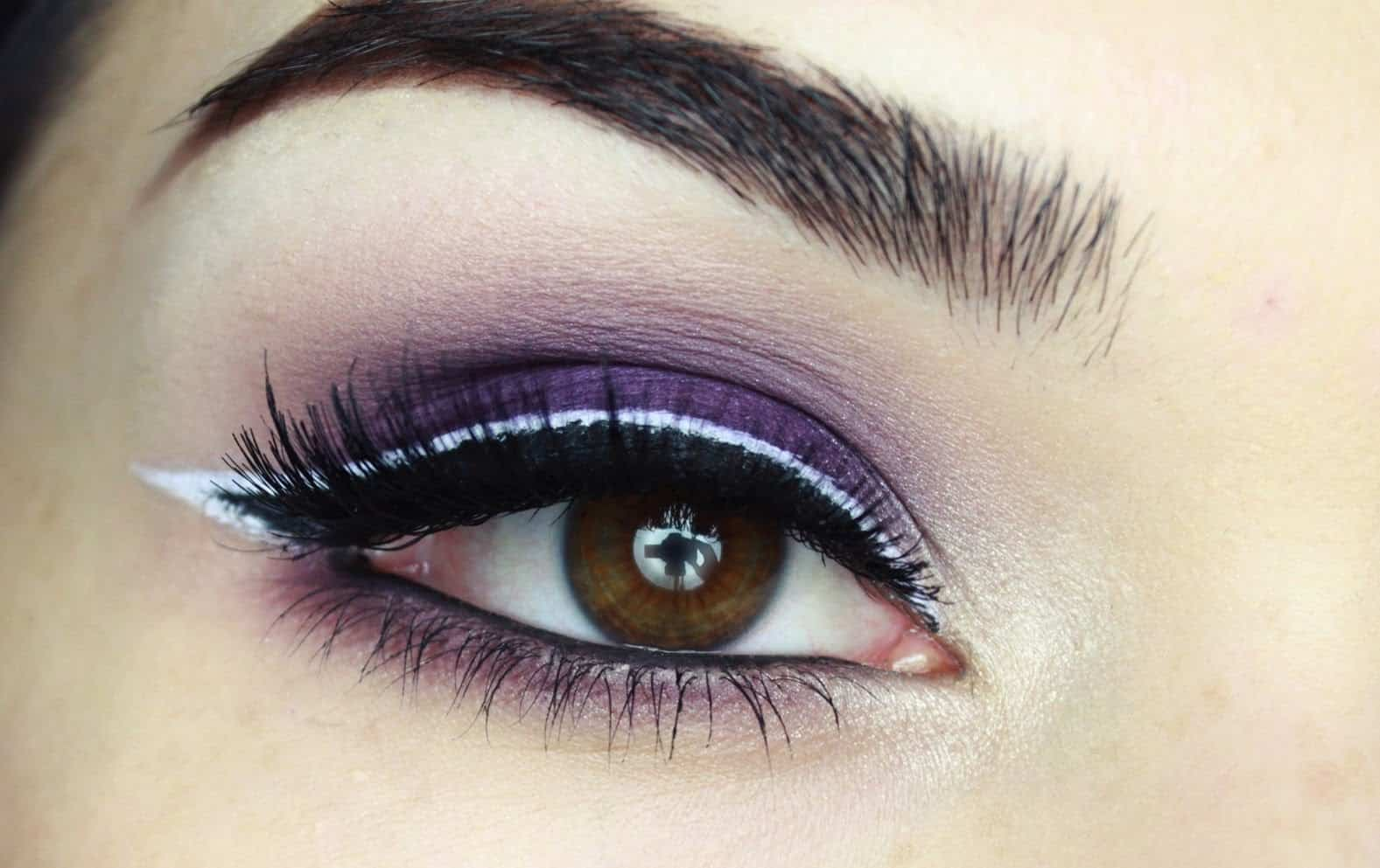 Purple with white outlined liner
