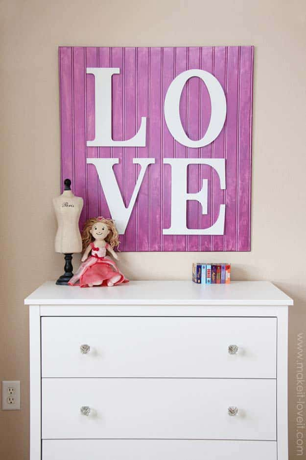 Purple wooden LOVE sign