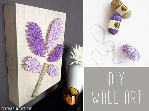 Purple yarn floral nail and canvas art
