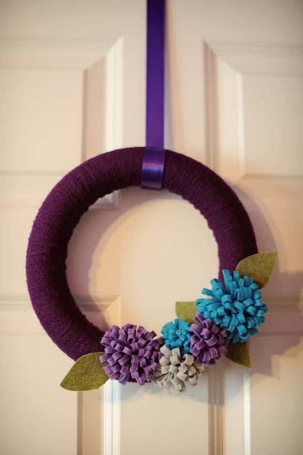 Purple yarn wrapped and felt flower wreath