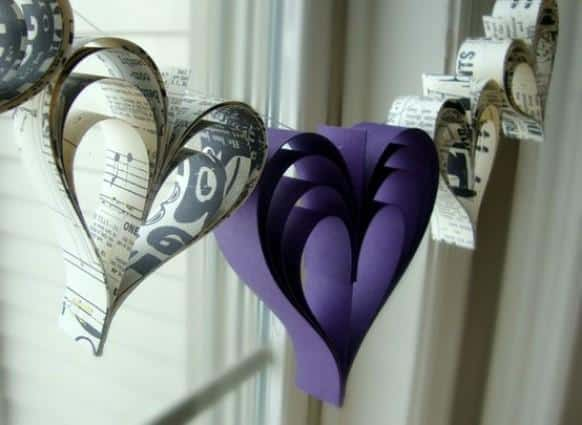 Purpleand music sheet heart garland