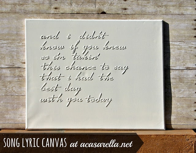 Raised song lyric canvas