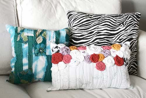 Recycled fabric rosette pillows