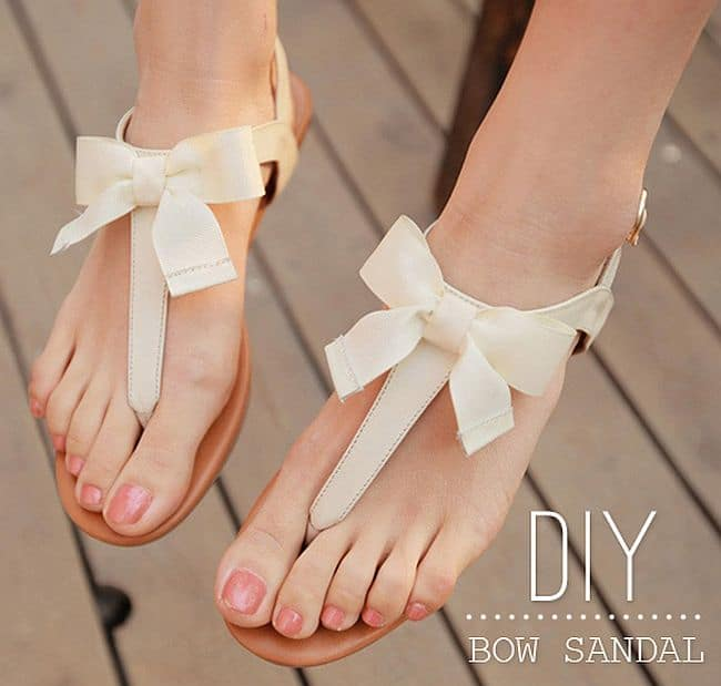 Ribbon and bow sandals DIY
