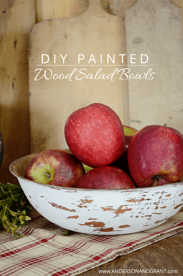 Rustic painted wood salad bowls