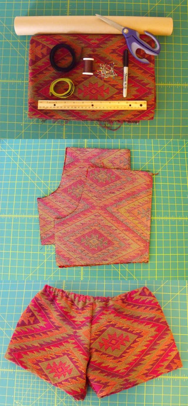 Scrap fabric shorts from scratch
