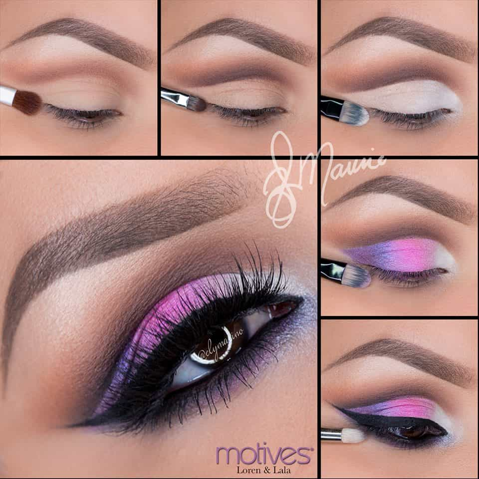 Silver, hot pink, and purple with a winged liner