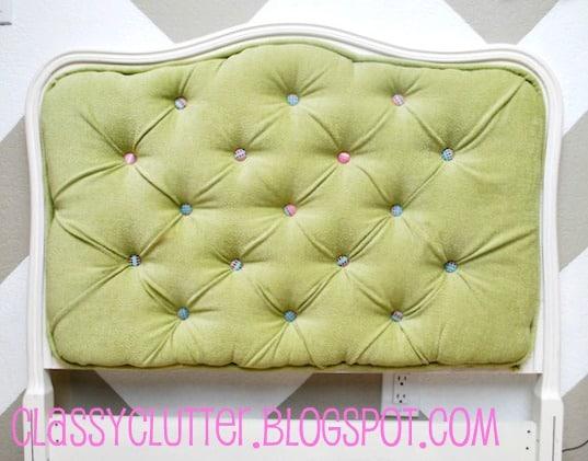 Soft green headboard