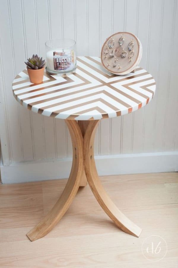 Spray paint patterned wooden table