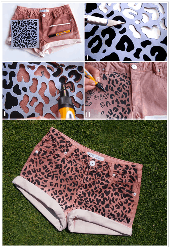 Stenciled leopard print shorts