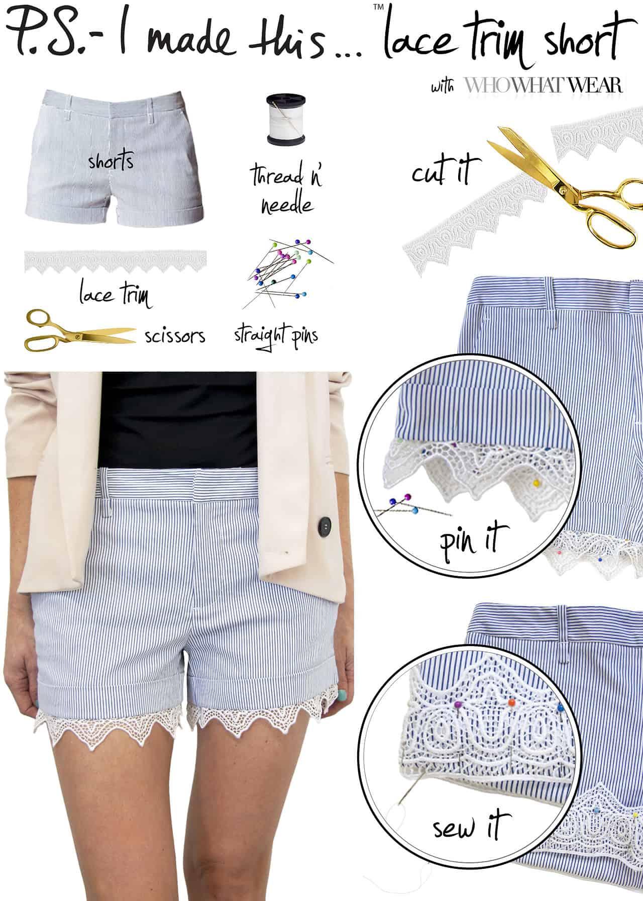 Super lace trimmed shorts