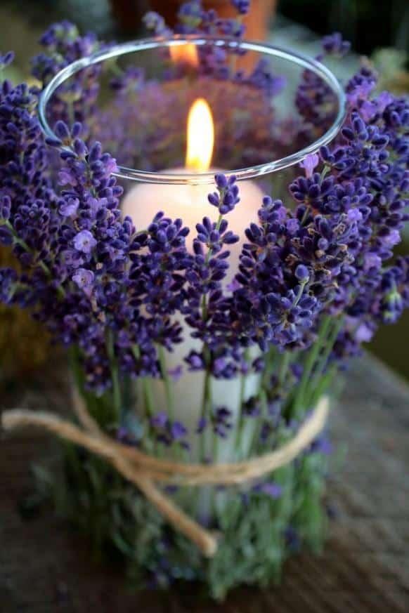 Tied lavender candle vase