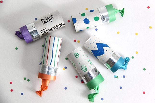 Toilet paper confetti poppers