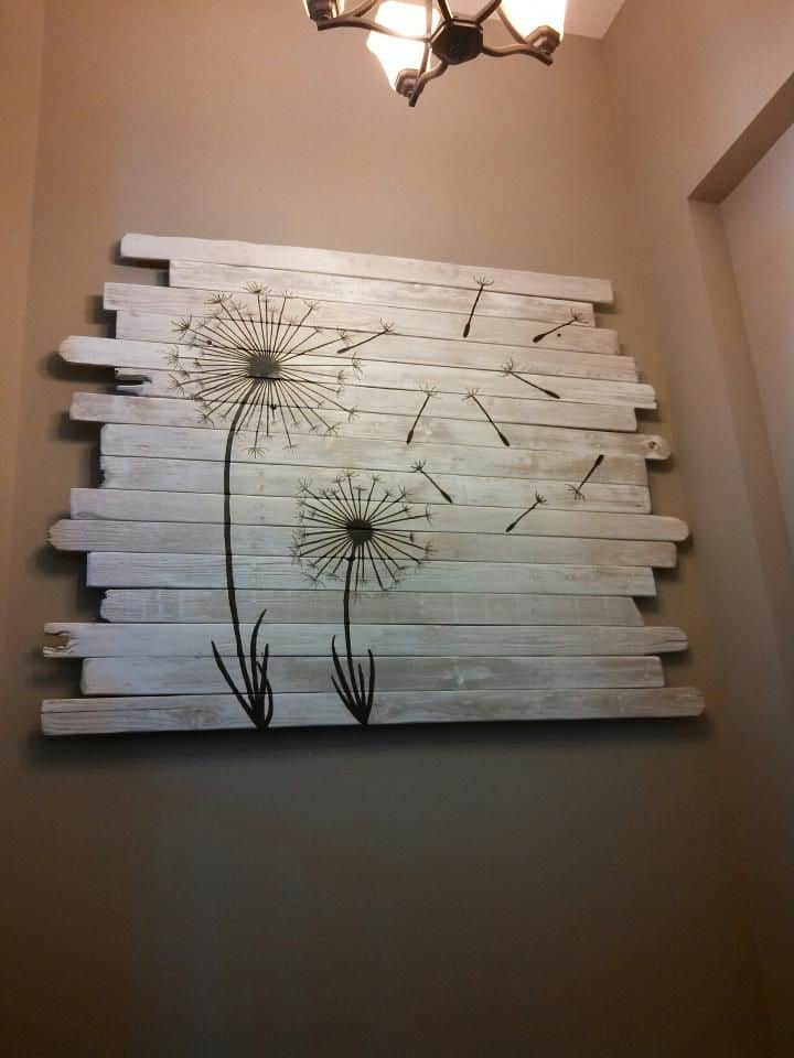Wooden Fence Dandelion Painting
