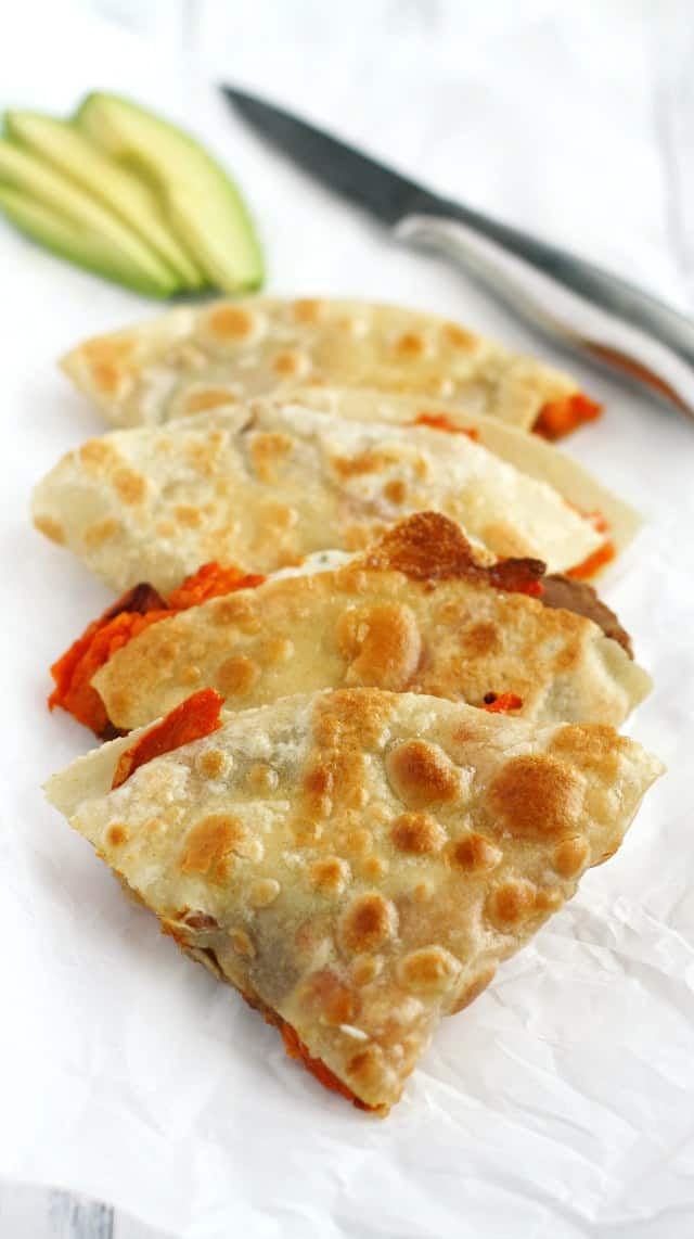 Bean and sweet potato quesadillas