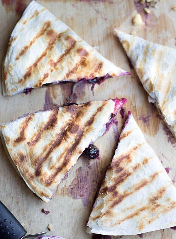 Blueberry brie quesadillas