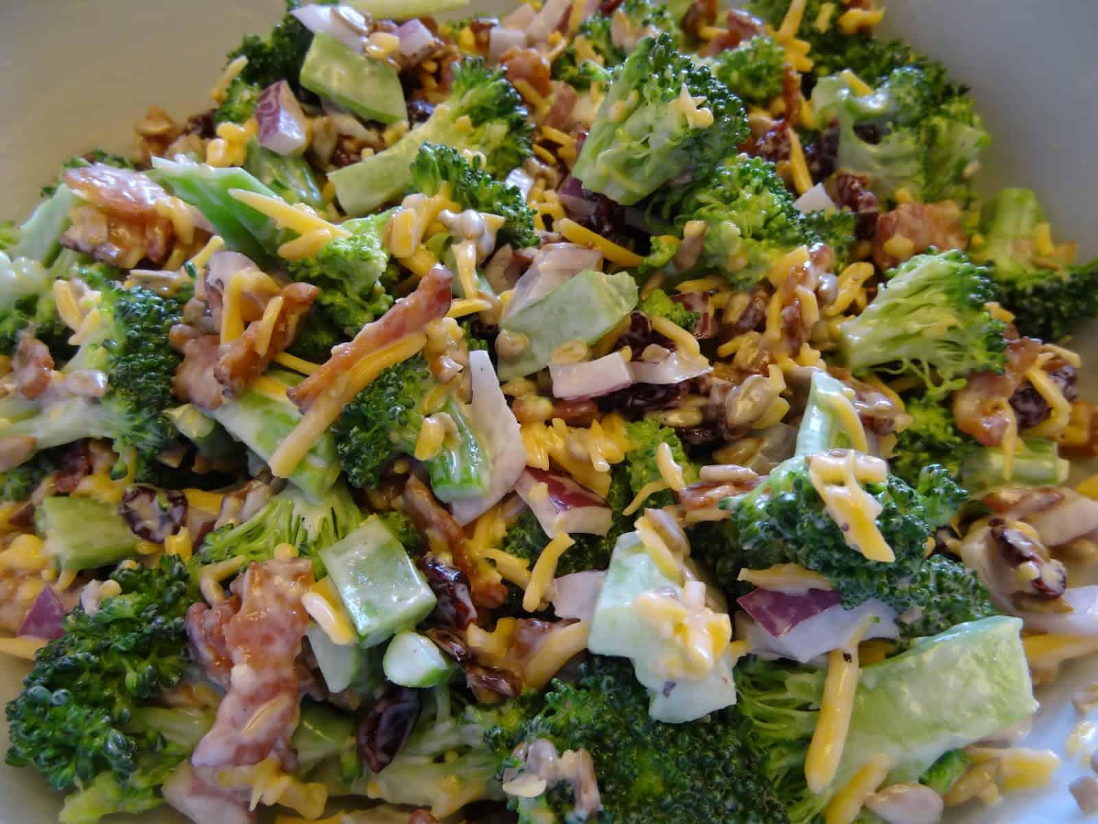 Cheese and bacon broccoli salad