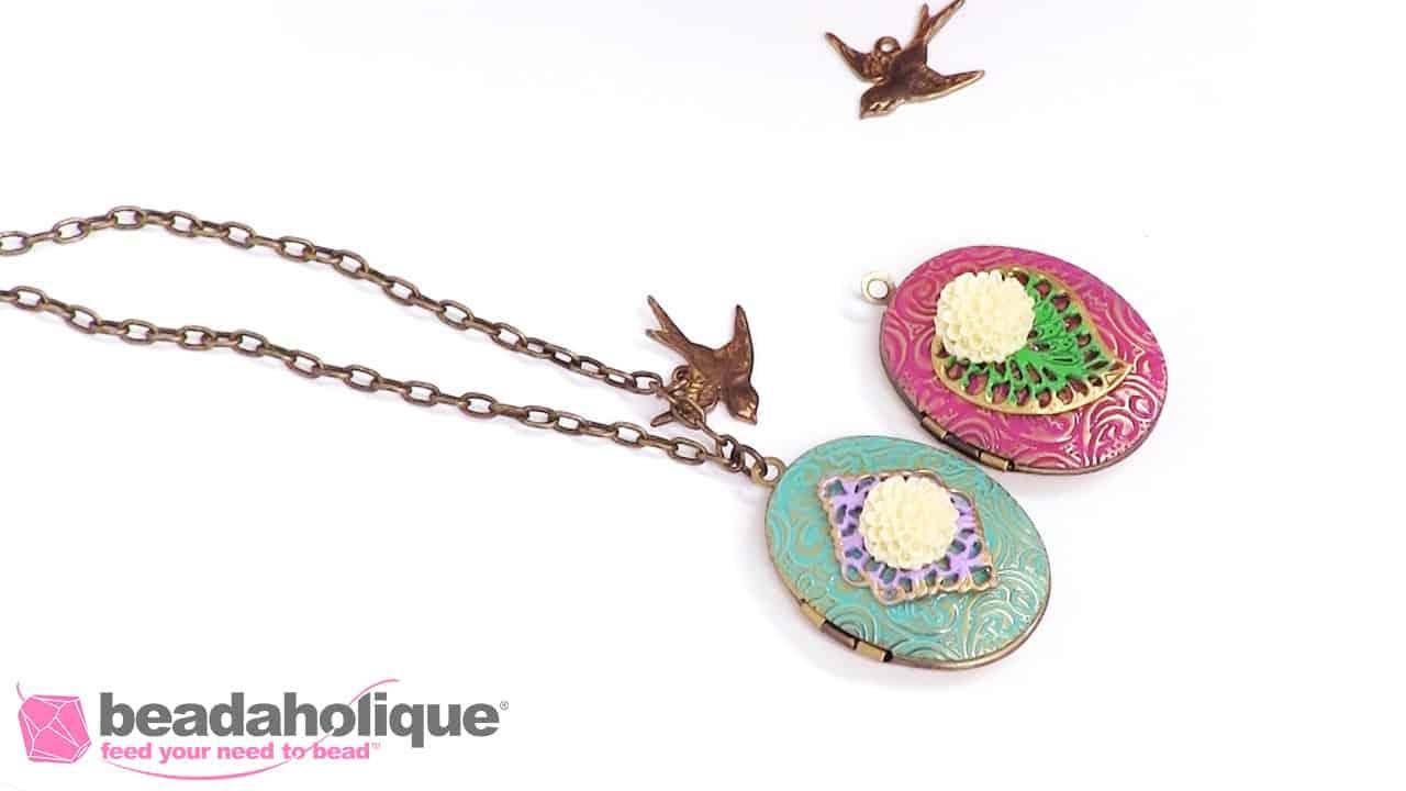 Colorful shabby chic locket